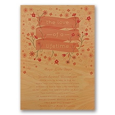 Pretty Petals - Melon - Real Wood Invitation