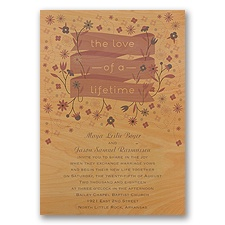 Pretty Petals - Orchid - Real Wood Invitation
