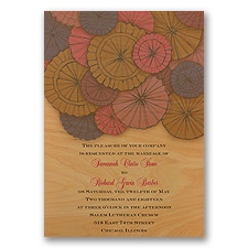 Pretty Parasols - Fuchsia - Real Wood Invitation