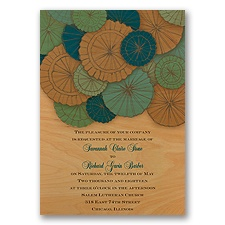 Pretty Parasols Malibu Real Wood Wedding Invitation