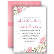 Delicate Roses Pink Wedding Invitation