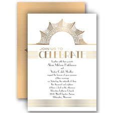 Gold Medallion Gold Wedding Invitation