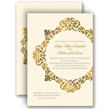 Gold Crest Ecru Wedding Invitation