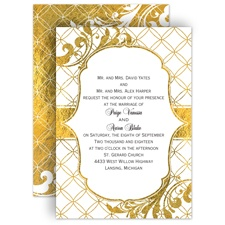 Gold Reflections Wedding Invitation