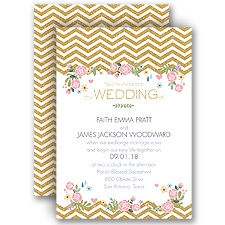 Chevron and Roses Faux Glitter Wedding Invitation
