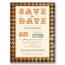 Houndstooth Frame - Ecru - Save the Date Card