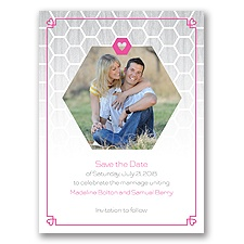 Honeycomb Heart - Save the Date Card
