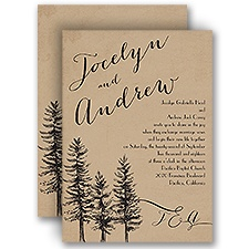 Spruced Up Brown Wedding Invitation