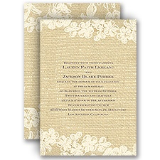 Lace Finish Ecru Wedding Invitation