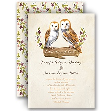 Vintage Owls Brown Wedding Invitation