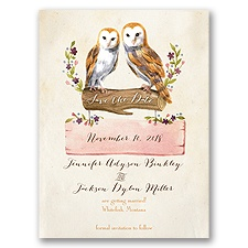 Vintage Owls Save the Date