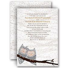 Snuggling Owls Wedding Invitation