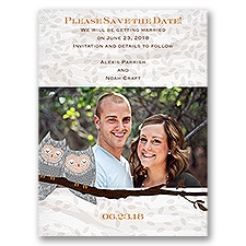 Snuggling Owls - Save the Date Card