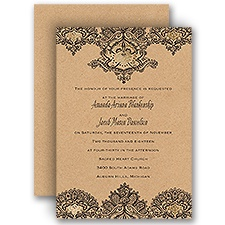 Henna Allure Gold Foil Vintage Wedding Invitation