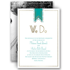 Twinkling Banner Gold Foil Wedding Invitation