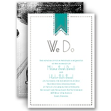 Twinkling Banner Silver Foil Wedding Invitation