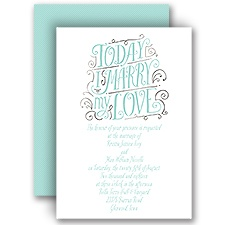 My Love Silver Foil Wedding Invitation