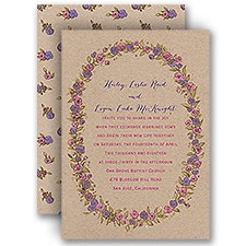 Lovable Roses Gold Foil Purple Wedding Invitation