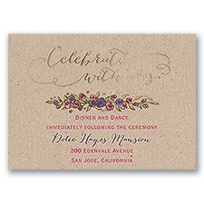 Lovable Roses - Gold - Foil Reception Card