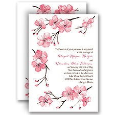 Blooming Border Silver Foil Wedding Invitation