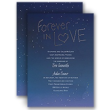Stars Aligned Gold Foil Blue Wedding Invitation