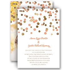 We Spotted Love Gold Foil Photo Wedding Invitation