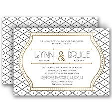 Grecian Frame Gold Foil Wedding Invitation