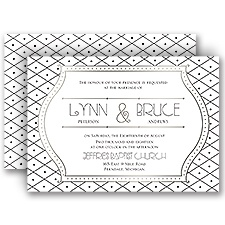 Grecian Frame Silver Foil Wedding Invitation