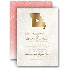 Heart and Home Gold Foil Wedding Invitation