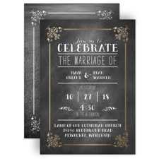 Filigree on Chalkboard Gold Foil Wedding Invitation