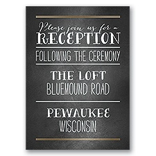 Filigree on Chalkboard - Gold - Foil Reception Card