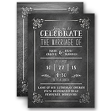 Filigree on Chalkboard Silver Foil Photo Wedding Invitation