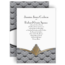 Gatsby Style Gold Foil Gold Wedding Invitation