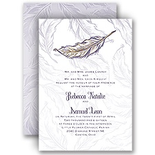 Flashy Feather Gold Foil Wedding Invitation