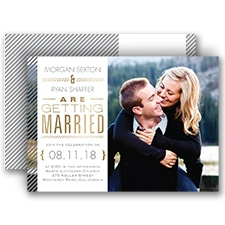 Pinstriped Perfection Gold Foil Photo Wedding Invitation
