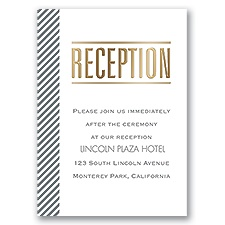Pinstriped Perfection - Gold - Foil Reception Card