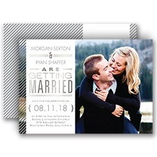 Pinstriped Perfection Silver Foil Wedding Invitation