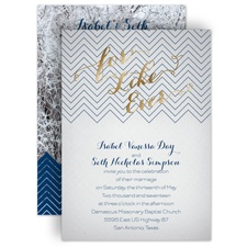 For Like Ever Gold Foil Wedding Invitation