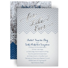 For Like Ever Silver Foil Wedding Invitation