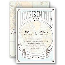 Taking Flight Silver Foil Wedding Invitation
