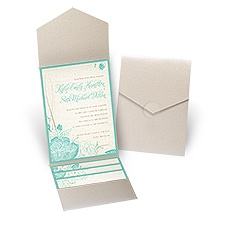 Floral Linen Gold Shimmer Pocket Wedding Invitation