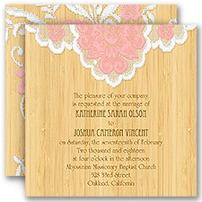 Floral Lace Brown Wedding Invitation