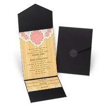 Floral Lace Black Pocket Brown Wedding Invitation