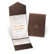 Country Affair Brown Shimmer Pocket Rustic Wedding Invitation