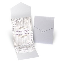 Country Affair White Shimmer Pocket Wedding Invitation