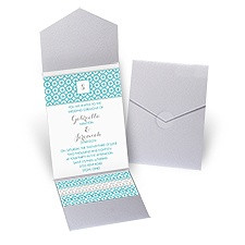 Geo Chic - Silver Shimmer - Pocket Invitation