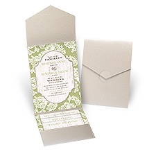 Lace Love Gold Shimmer Pocket Wedding Invitation