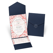 Lace Love Navy Pocket Vintage Wedding Invitation