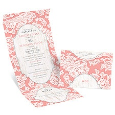 Lace Love Seal and Send Pink Wedding Invitation