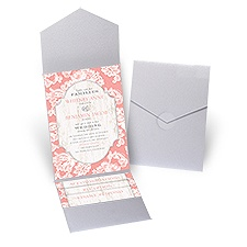 Lace Love Silver Shimmer Pocket Pink Wedding Invitation
